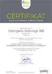 FR2000 Certifikat Hisingens Sotnings AB